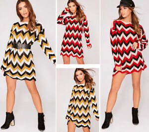 New-Ladies-Womens-Long-Sleeve-Zig-Zag-Stripe-Knitted-Chevron-Jumper-Mini-Dress