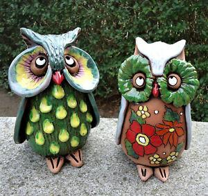 Adler-Eule-Gartenstecker-Keramik-Kantensitzer-Vogel-Garten-Deko-Figur-Skulptur