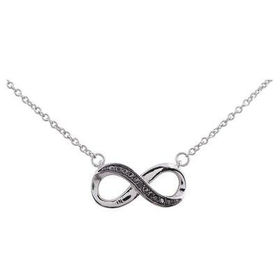 Infinity Pendant Necklace,925 Sterling Silver,Black Diamond Accent.