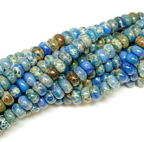 5x8 mm Edelsteine Bacatus #3071 Impression Jaspis Rondelle blau 4x6