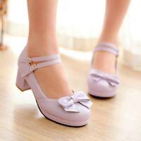 Women's Sweet Lolita Bowknot Round Toe Mary Jane Chunky Block Heels Shoes Size