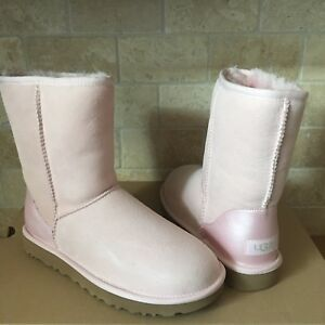 ad40f1f9f4a Details about UGG Classic Short II Metallic Sea Shell Pink Suede Sheepskin  Boots Size 9 Womens