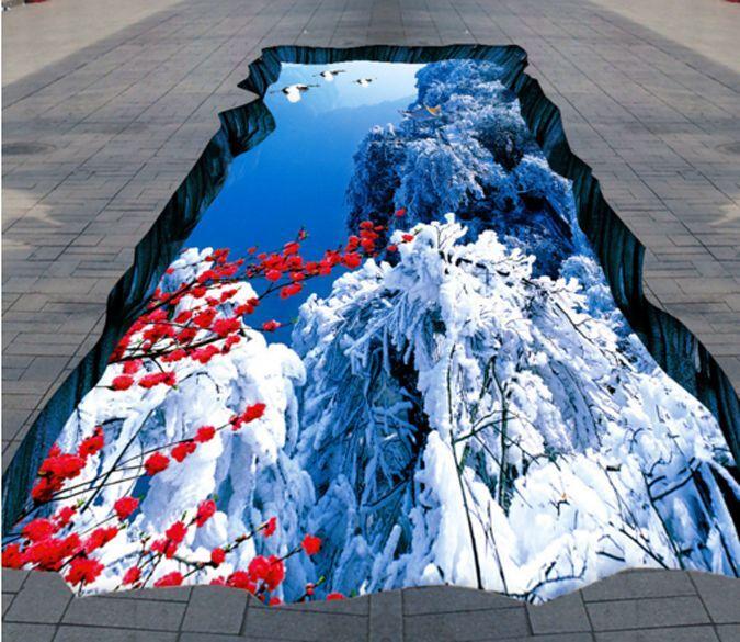 3D Snow Mountain Plum Blossom WallPaper Murals Wall Print Decal 5D AJ WALLPAPER