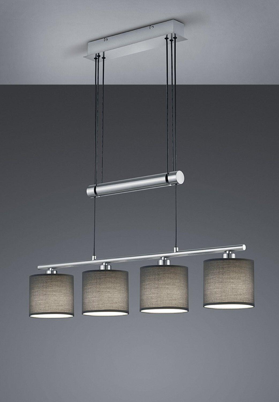 Moderene LED Pendelleuchte , höhenverstellbar, 4 x E14, Stoff grau