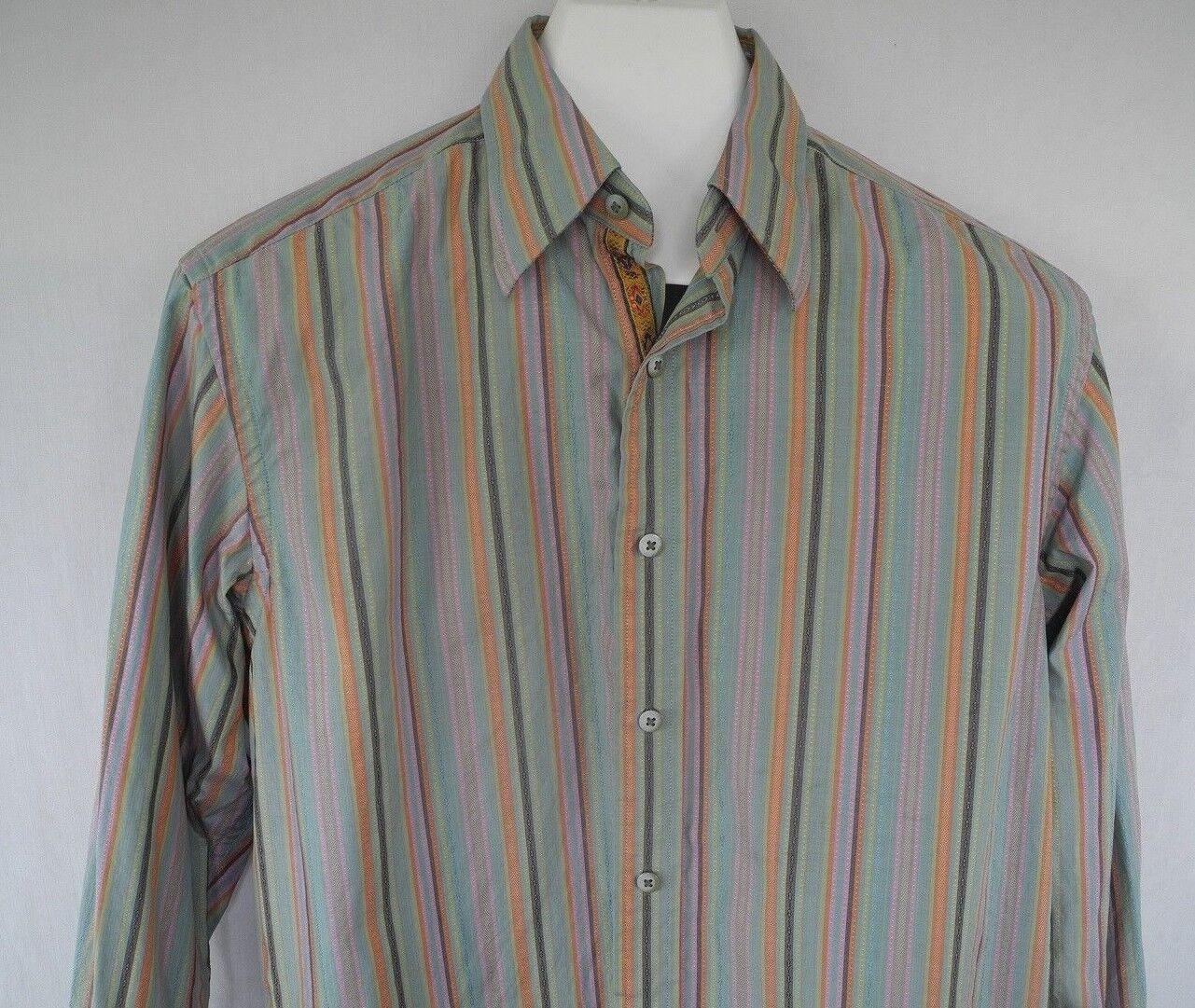 Robert Graham Button Front Shirt Flip Cuff Green Pink orange Striped Medium