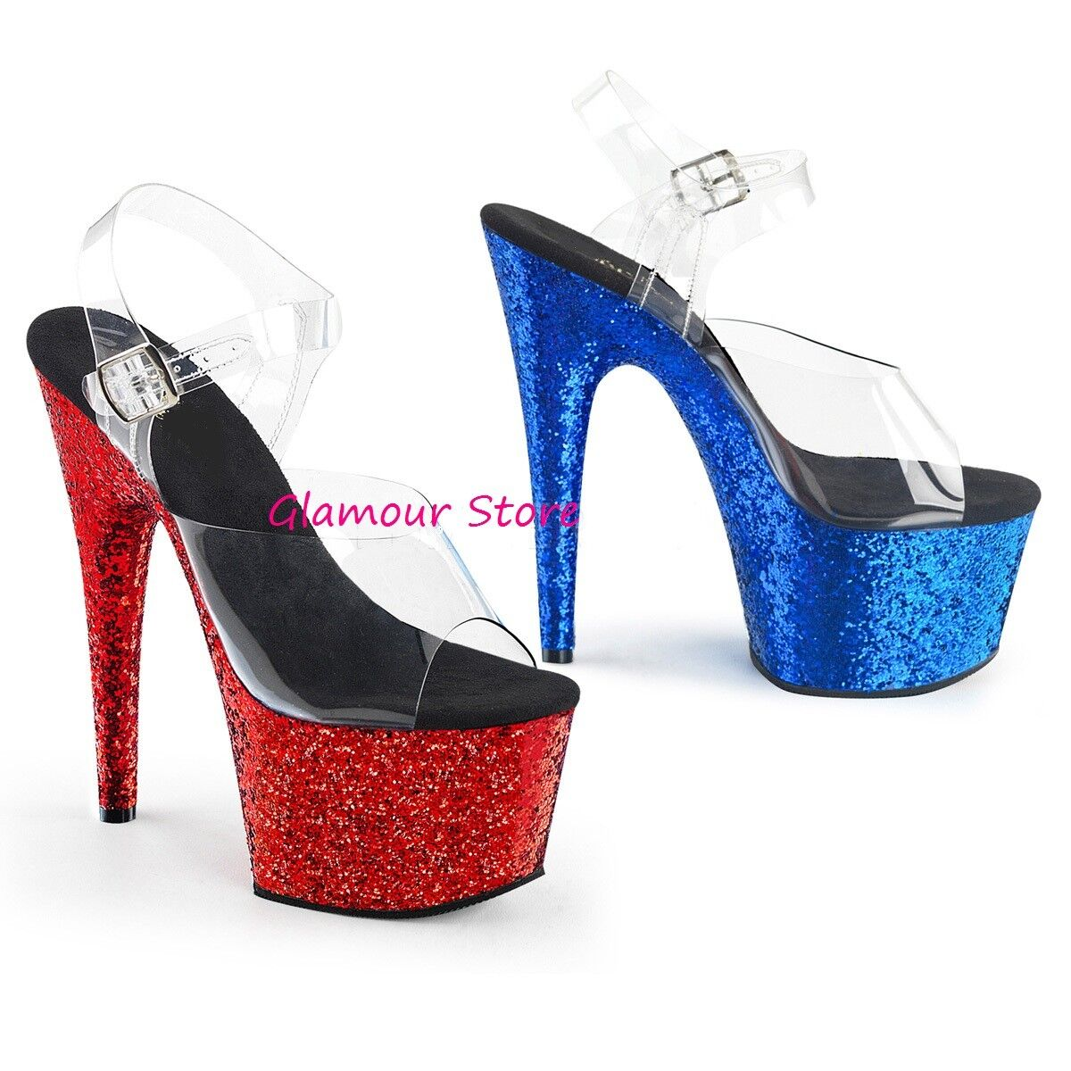 Sexy Glitter Sandals 2 colours  Heel 18 from 35 to 40 Transparent Red-bluee Club