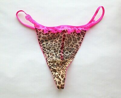 Women Thong Leopard Mesh Tback Underwear high cut Gstring Panties Black M-XL-4XL