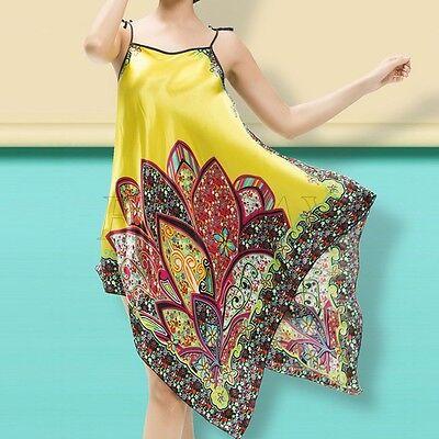 Women Ladies Silk Satin Kimono Pajamas Bath Robe Night Gown Sleepwear 8 Colors