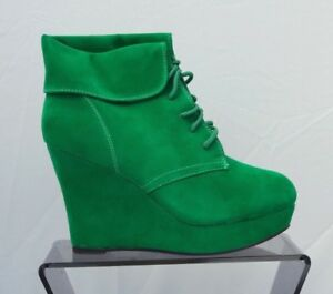 New-Ladies-Women-039-s-Green-Suede-Platform-Wedge-Ankle-Boots
