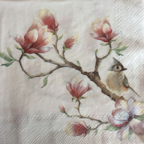 paper napkins decoupage x 2 birds /& flowers  25cm