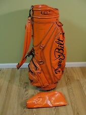 "Rare Vintage Orange Power Bilt H & B Staff Golf Bag 9"" opening w/Rain Cover"