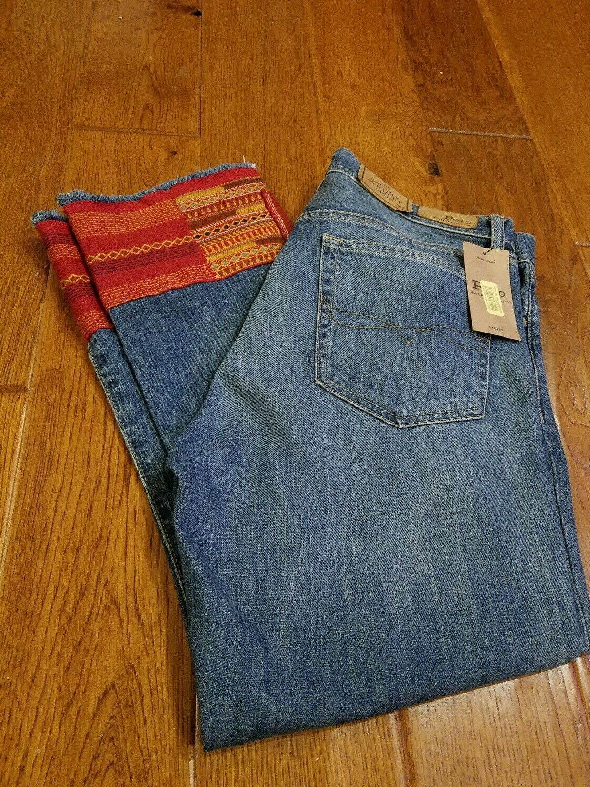 Polo Ralph Lauren 'The Waverly' Embroidered Crop Jeans Womens Size 29 NWT  298