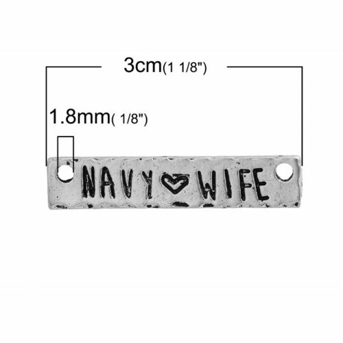 10 Or 20PCs Navy Wife 30mm Antiqued Silver Plated Connector Charms C0472-5