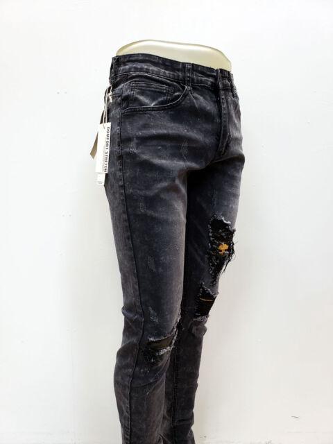 KAYDEN.K Men/'s Destroyed Ankle Zip Skinny Tapered Fit Jeans Pants KND4170