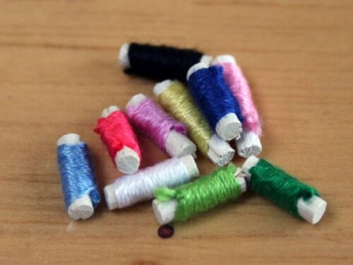 Dolls House Miniature Sewing Room 1//12 Scale Reels of Cotton