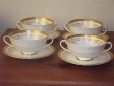 SET of 4 Royal Doulton China H 4991 Belmont Gold SOUP COUPS & SAUCERS 1st Qual.