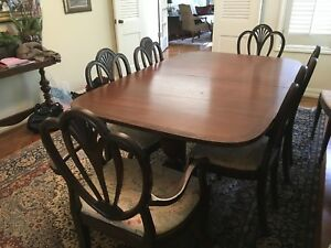 Image Is Loading Dining Room Table With 8 Chairs Old English