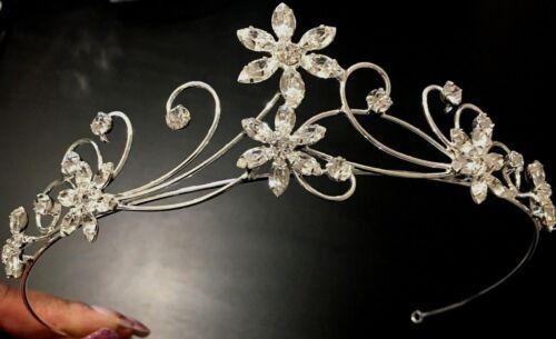 Silver Crystal Bridal Bridesmaids Wedding Prom FLOWER /& SCROLL TIARA