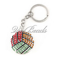 1 pcs Rainbow Rhinestone Volleyball Key Chain Sport Keychain Rings Personalized