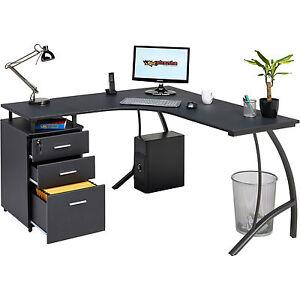 Large Corner Computer Desk A4 Filing Drawer For Home