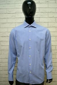 Camicia-a-Quadretti-Blu-Uomo-HUGO-BOSS-Taglia-XL-Shirt-Maglia-Manica-Lunga