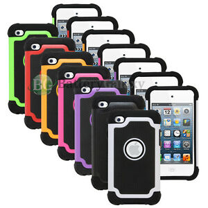 LOT-Hybrid-Rugged-Rubber-Matte-Hard-Case-Cover-for-Apple-iPod-Touch-4-4th-Gen