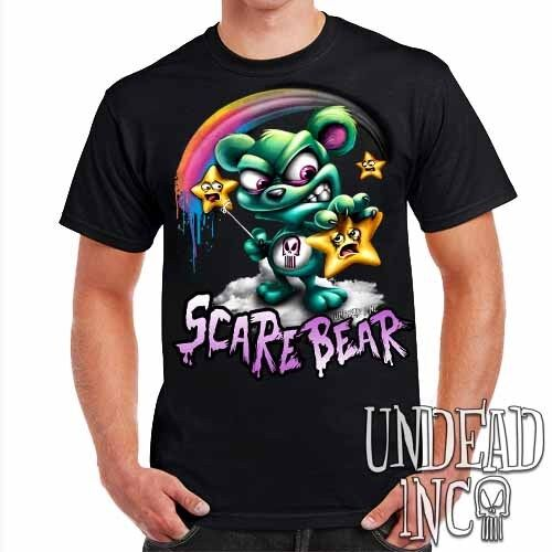 Mens T Shirt Scare Bear Hunting Stars Undead Inc Twisted Care Bears