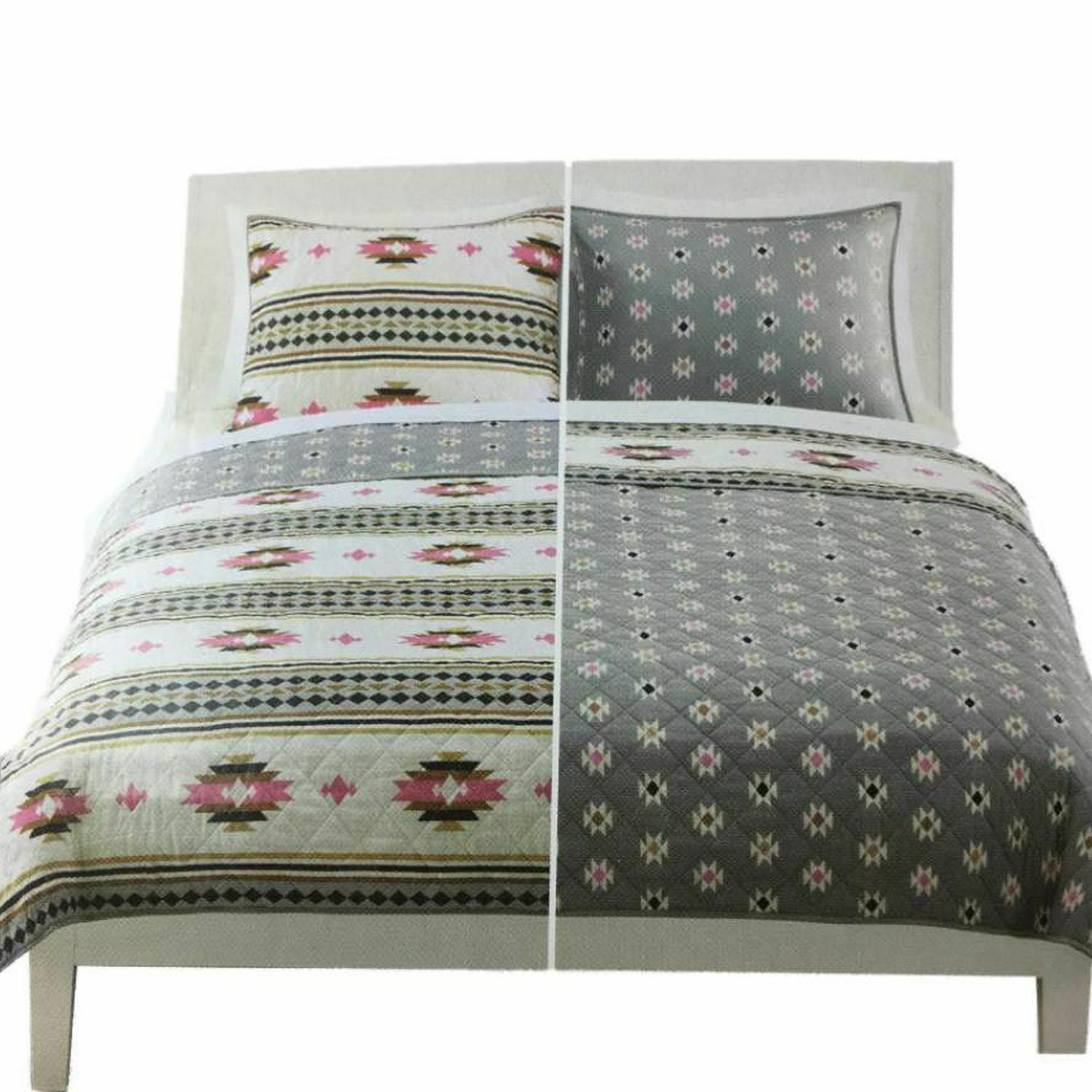 Reversible Quilt Sham Set Aztec Geometric Quilted Twin Bed Cover 2 Pc For Sale Online
