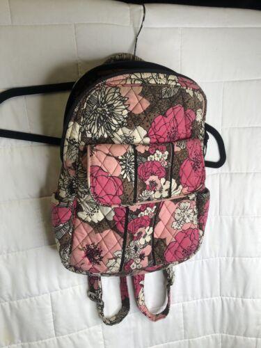 Vera Bradley Mocha Rouge Pink Floral Backpack