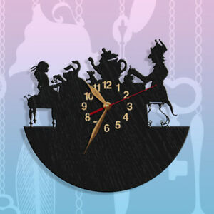 Wall Clock Mad Tea Party Alice in Wonderland Tea Pot Silhouette