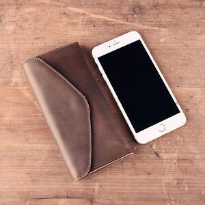 Details about Genuine Leather Wallet Vintage Men's Clutch Envelope Long  Phone Pouch Case Cash