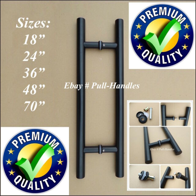 "Stainless Steel Entry Door Black T Bar Pull Handle Pull Knob 18""~ 70"""