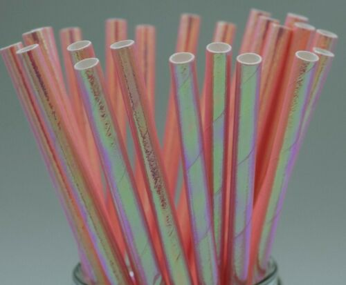25 x Iridescent Pink design paper drinking straws birthday UK biodegradable