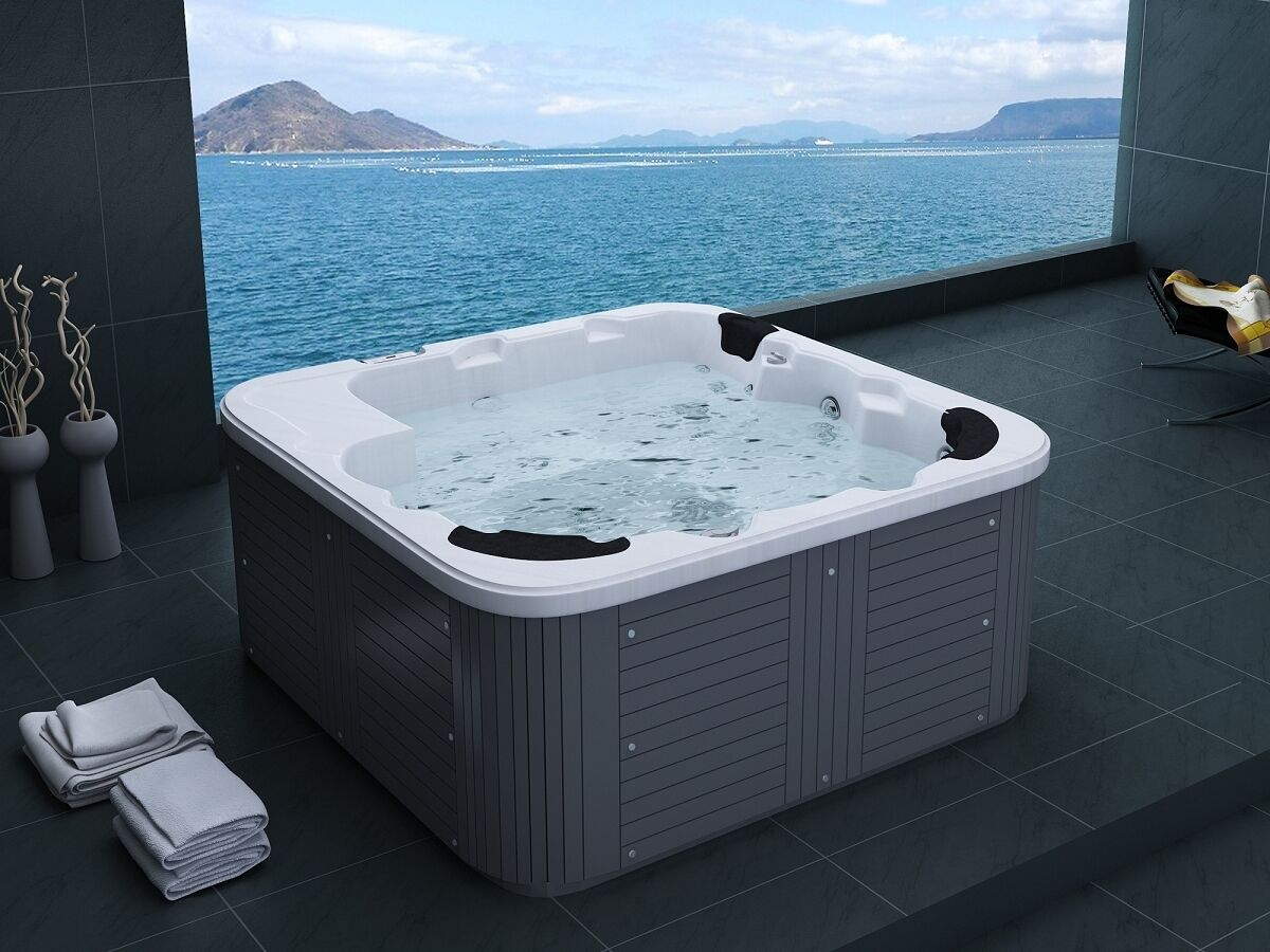 whirlpool hot tub luxus spa mit massage heizung ozon 6 personen outdoor schwarz 712166267233 ebay. Black Bedroom Furniture Sets. Home Design Ideas