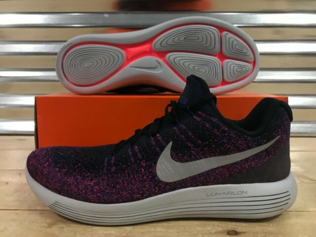 info for 199fc 94afb Nike Lunarepic Low Flyknit 2 Running Shoes Black Purple Silver SZ (  863779-015 )