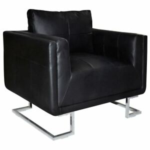 Excellent Details About Vidaxl Cube Armchair With Chrome Feet Real Leather Black Luxury Furniture Home Creativecarmelina Interior Chair Design Creativecarmelinacom