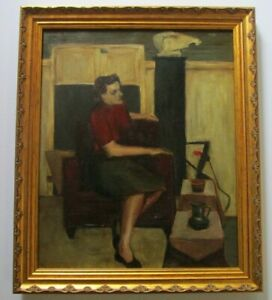 VINTAGE-PORTRAIT-PAINTING-MID-CENTURY-MODERN-FEMALE-MODEL-SIGNED-CASE-1950-039-S