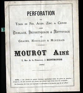 MONTROUGE-92-USINE-de-PERFORATION-TOLE-ACIER-ZINC-CUIVRE-034-MOUROT-034-Catalogue