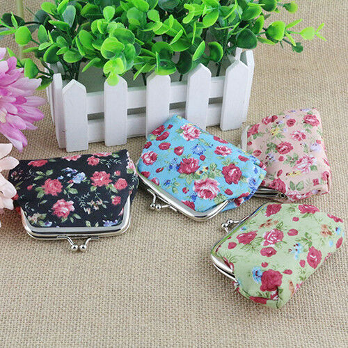 Multi Color Cute Floral Print Flower Women Coin Change Purse Wallet Cloth New!