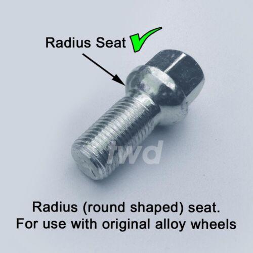 R40 Rotondo Raggio Sedile LUG Stud DADI B M14x1.5 16 X BULLONI CERCHI IN LEGA per VW