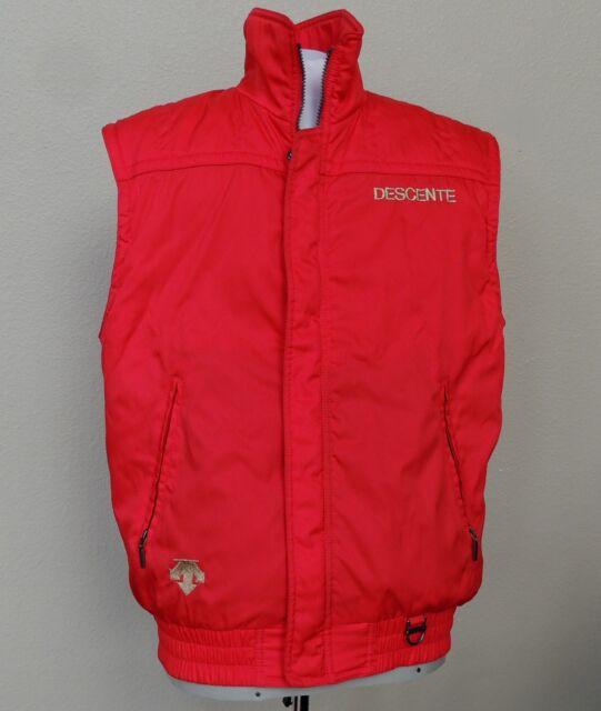 Descente Ski Vest Mens Large Red Western Vtg Retro Snowboard Shiny Full Zip