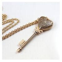 Vintage Rose Gold Antique Palace style Heart Key Locket Pendant Necklace