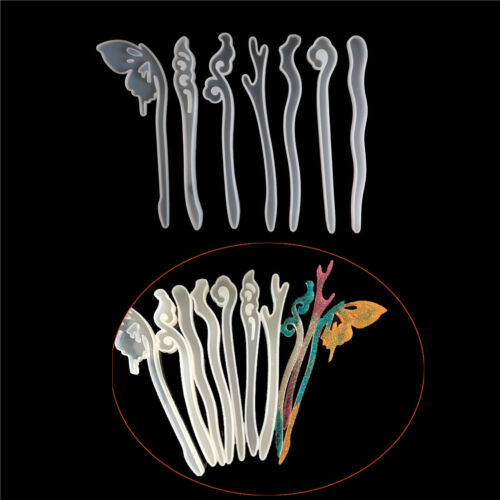 Fashion Silicone Hairpin Mold Making Hair Stick Mould Jewelry Resin DIY Craf BBB