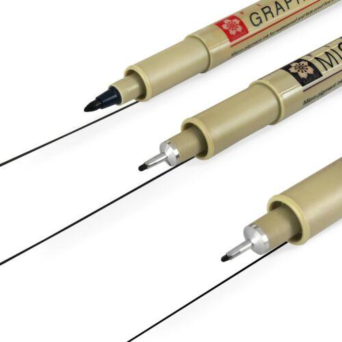 6 X Sakura Pigma Micron Fineliner Stylos 0.5//0.8mm//PN 0.3//0.5mm//Graphique Noir