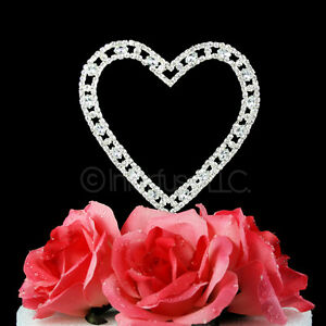 crystal heart wedding cake toppers 4 25 inch rhinestone silver wedding cake 13110