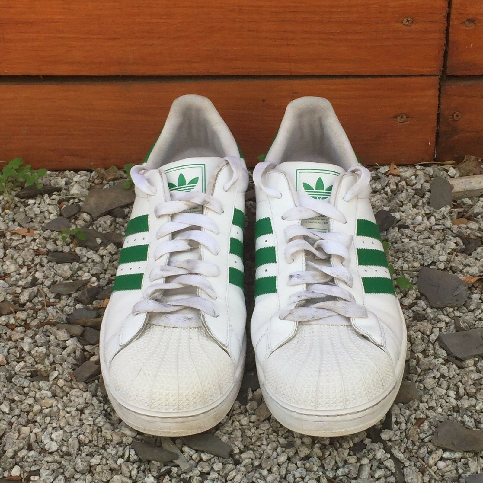 ADIDAS Men's Superstar Original Shell  Toe Sneakers in White/Green, Size13