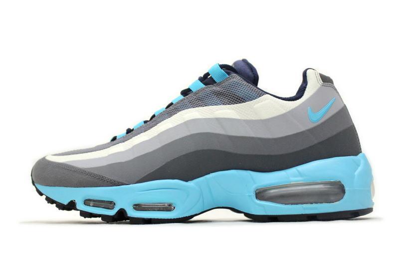 Nike air max 95 no cucire scarpe nuove, grigio scuro / gamma blu 616190-040 sku aa