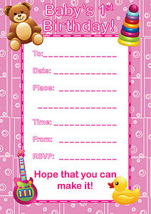 16 a6 party invitations kids blank invites baby girl s 1st birthday