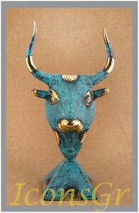 Statue Cretan Minoan Bull Bronze Ancient Collectable Greek Museum  Replica