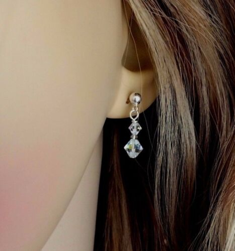 SMALL AB CRYSTAL DROP EARRINGS STERLING SILVER STUD BRIDE BRIDESMAID DESIGN gift